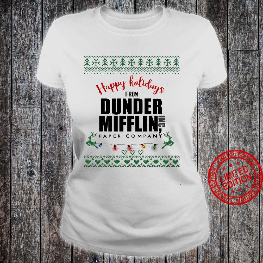 Happy Holidays From Dunder Mifflin Paper Company Shirt ladies tee