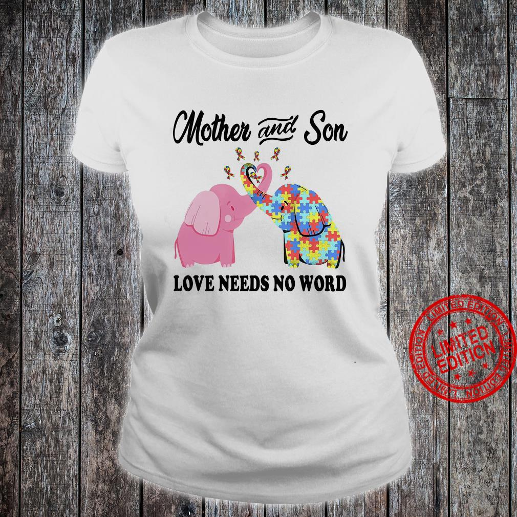 Mother And Son Love Needs No Word Shirt ladies tee